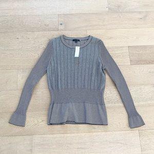 Ann Taylor ribbed striped peplum sweater black white xl